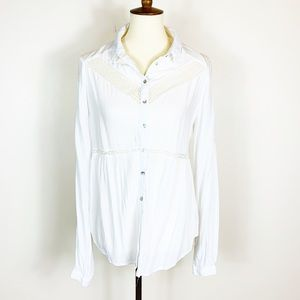 Free People White Button Down Blouse Small
